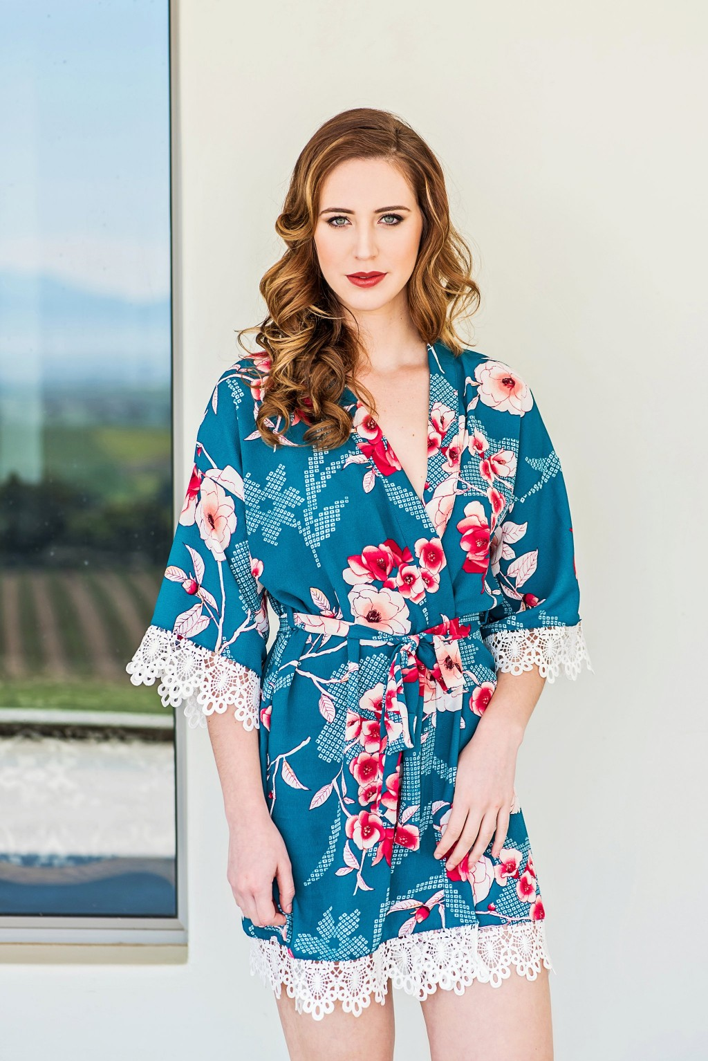 Floral print bridal robe with delicate lace trim. A variety of floral print  patterns are available to suit your theme. fd4f06244