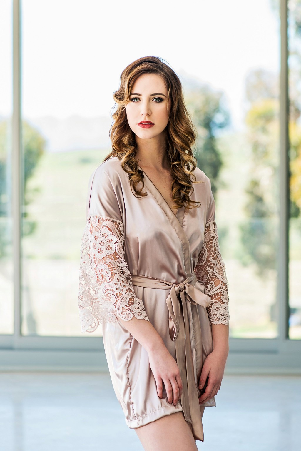 a73d34bbbb Soft satin bridal robe with lace sleeves. Available in more than 30  different colours.
